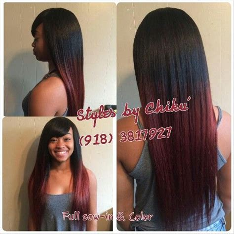 sew in long hairstyles with a swoop bang styles by chiku williams full sew in burgundy color long