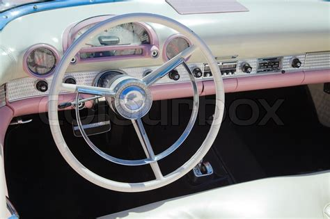car dashboard upholstery retro styled classic american car interior with white and