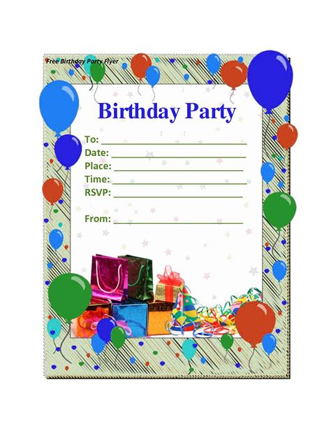 free birthday party invitation templates party