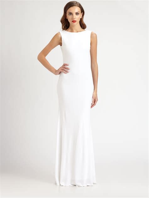 beaded white gown lyst badgley mischka beaded jersey gown in white