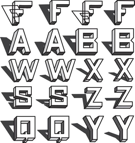 draw  block letters drawing  dimensional