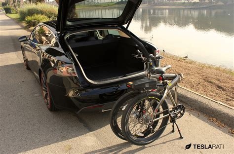 Tesla E Bike Size Folding Electric Bike In A Tesla Model S
