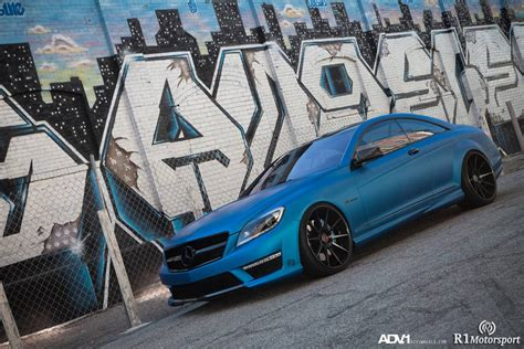 blue mercedes mercedes cl63 amg gets matte blue wrap and adv 1 wheels