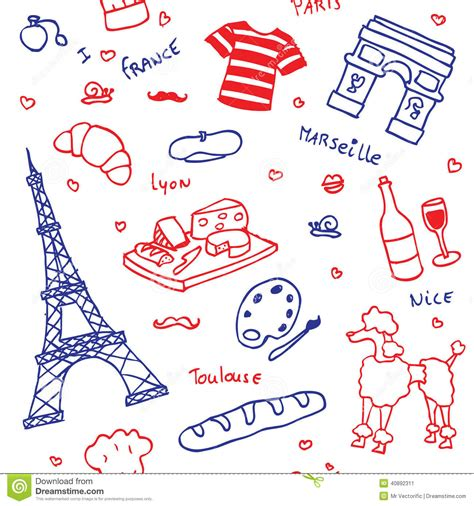 seamless pattern en francais french symbols and icons seamless pattern stock vector
