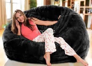 Big Fuzzy Bean Bag Chair 2017 Oversized Bean Bags Fur Black Beanbag Lounger