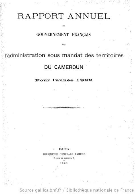 Rapport annuel du Gouvernement français à l'Assemblée