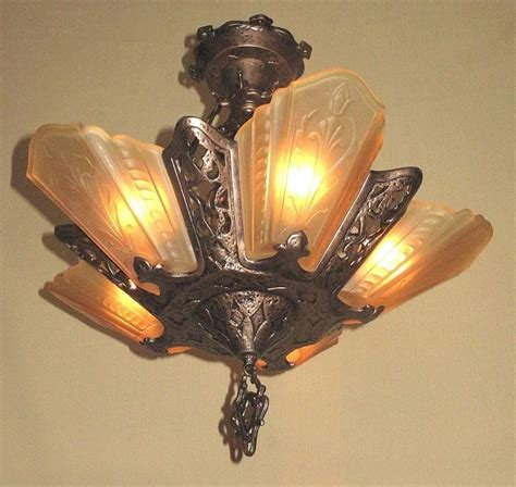 semi flush arts and crafts ceiling fixture late 1920s for