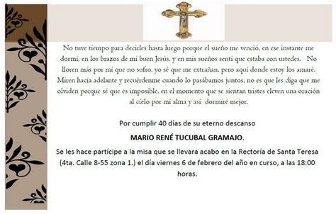los 40 dias de un difunto invitaci 243 n a misa de 40 dias imagui
