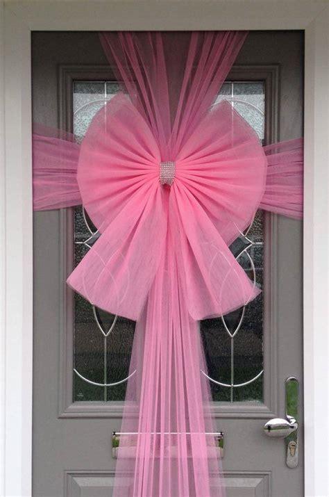 door bow decoration baby pink christmas door bows