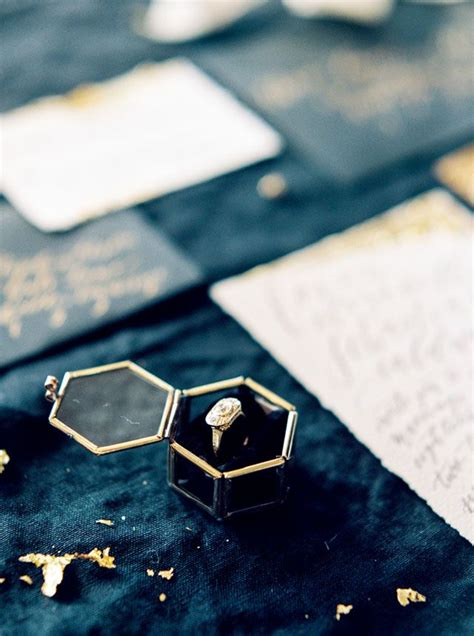 exquisite black and gold winter wedding ideas engagement