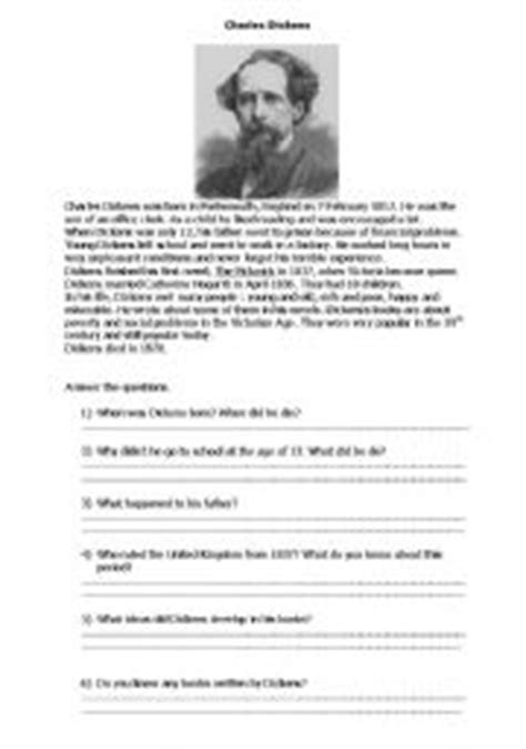 charles dickens biography video worksheet esl kids worksheets charles dickens