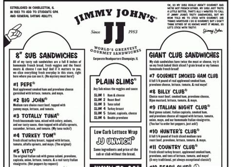 printable job application for jimmy johns jimmy johns printable menu vegan and regarding picture