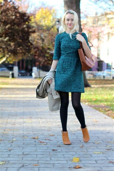 picture of colored dress with black tights brown ankle