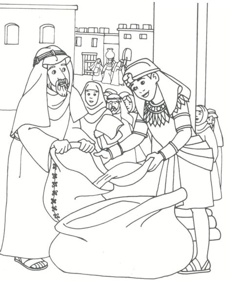 Coloring Page Joseph by Joseph Filling Bags Of Wheat For His Brothers In O