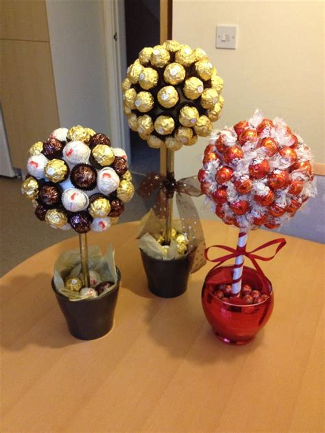 Handmade Chocolate Decorations - sweet trees made with ferrero roche and lindor chocolates