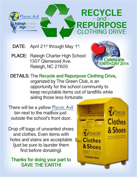 s day drive in raleigh school hosts recycle and repurpose clothing drive