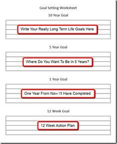 12 Week Year Templates by Goal Setting Templates On Goal Setting