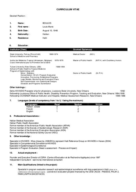 Low Time Pilot Resume by Cv Of Louis Boulos 11 12 2012