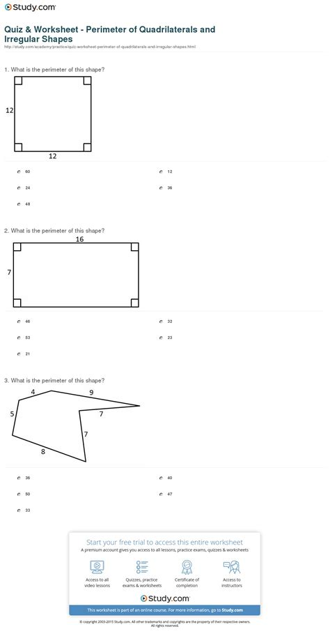 printable area and perimeter quiz worksheet perimeter worksheets grass fedjp worksheet