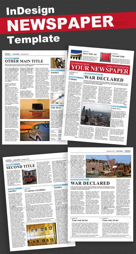 Newspaper 4 Pages By Pro Design Graphicriver Newspaper Newsletter Template