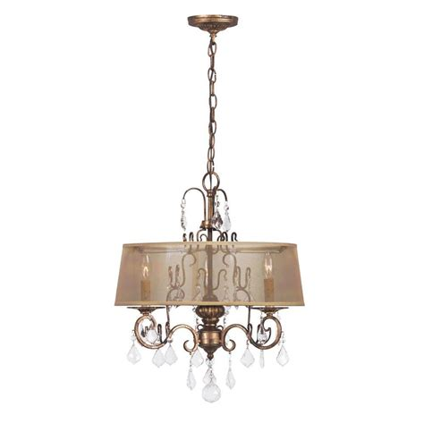 Gold Drum Chandelier World Imports Collection 3 Light Antique Gold Chandelier With Sheer Drum Shade