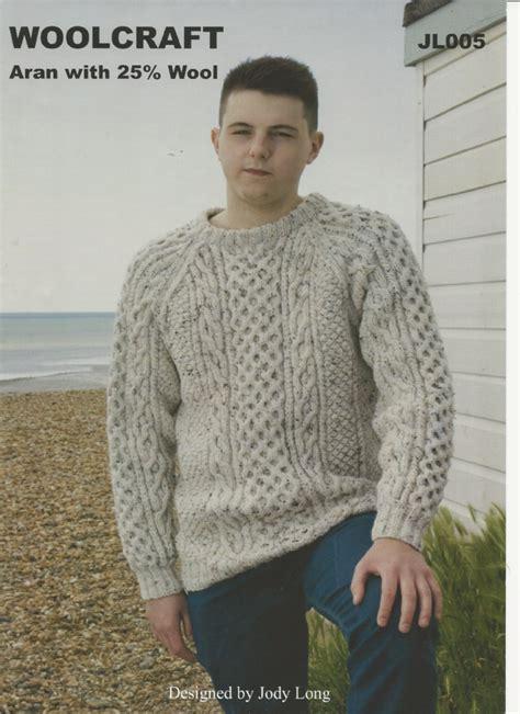 woolcraft knitting patterns woolcraft mens sweater aran knitting pattern jl005