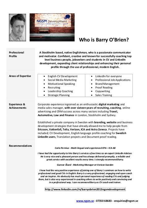 bio exles for consultants who is barry o brien english linkedin consultant bio