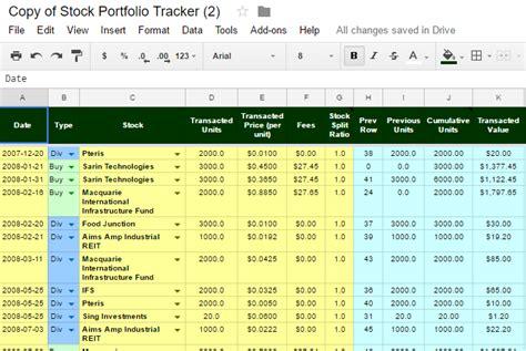 Free Online Investment Stock Portfolio Tracker Spreadsheet Stock Portfolio Template