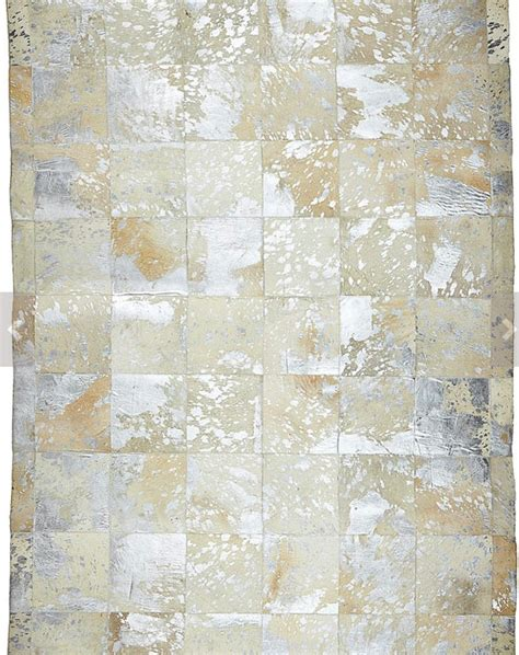 Patchwork Sler - metallic patchwork cowhide rug anima and amare