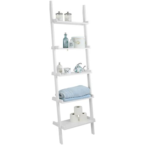 Hartleys 5 Tier White Leaning Ladder Wall Shelf Shelving Leaning Ladder 5 Shelf Bookcase