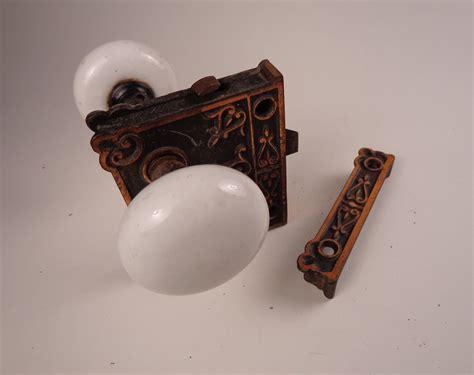 antique white porcelain door knobs with brass lock set ebay