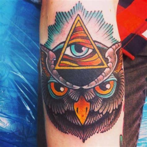 new school owl tattoo arm new school owl god by lucky 7 tattoos