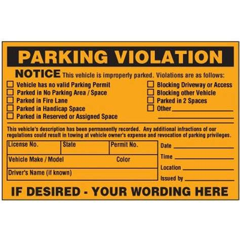 Vehicle Is Improperly Parked Violation Warning Labels Parking Warning Notice Template
