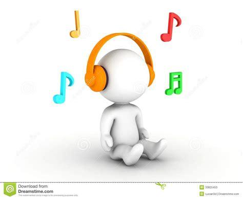 imagenes musicales 3d hombre 3d que escucha los auriculares con las notas