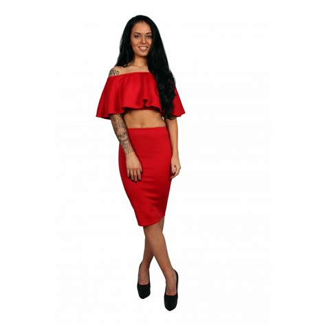 frill crop top and midi pencil skirt set