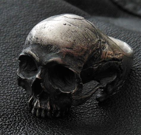 skull ring into the sterling silver mens ring