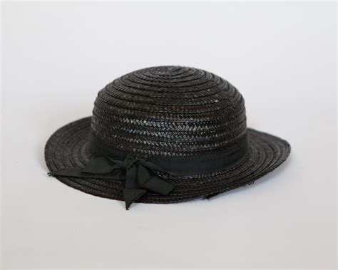 vintage black straw womens boater hat with bow by