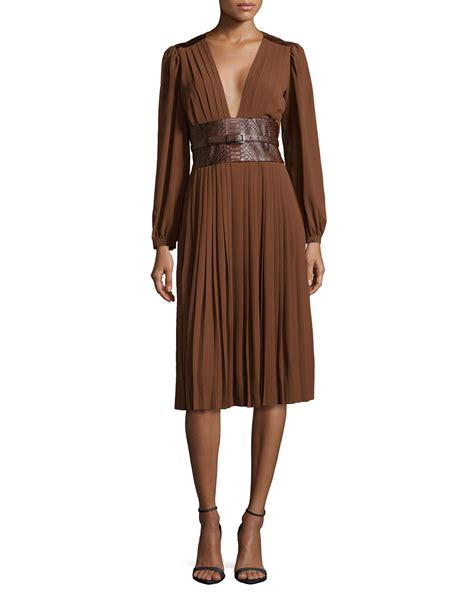 michael kors pleated dress with embossed belt in brown lyst