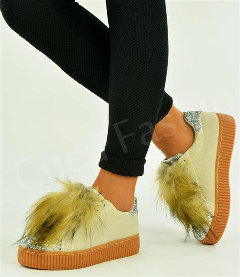 Fashion 89 2 Pq Gs3199 new womens flatform platform trainers faux fur sneakers shoes size uk 3 8 ebay