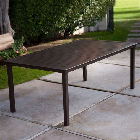 Rectangular X Inch Patio Dining Table In Mocha Brown With