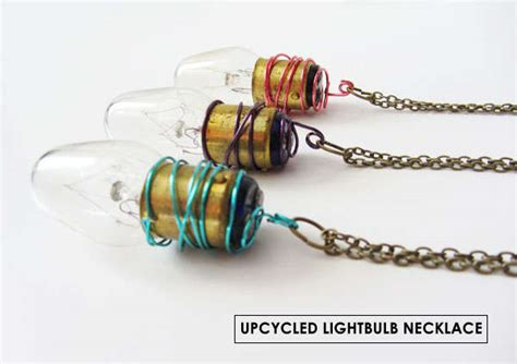 lighted christmas bulb necklace upcycled light bulb jewelry light bulb jewelry
