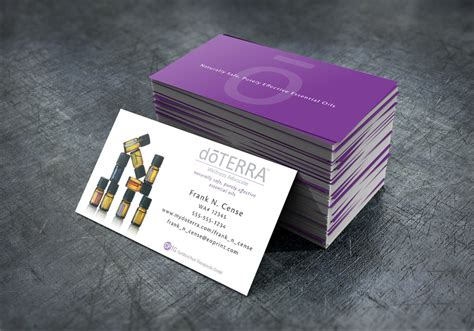 doterra business card template bottles with purple back