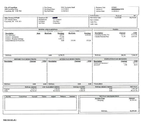 template for payroll check stub payroll check template