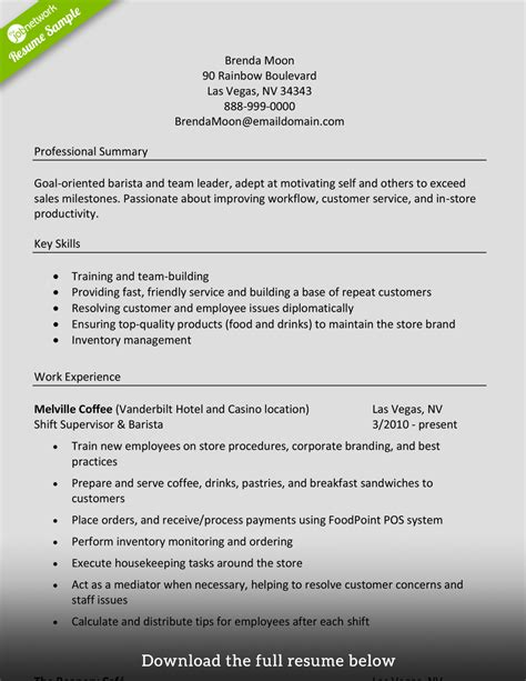 Resume Objective Exles Barista How To Write A Barista Resume Exles Included
