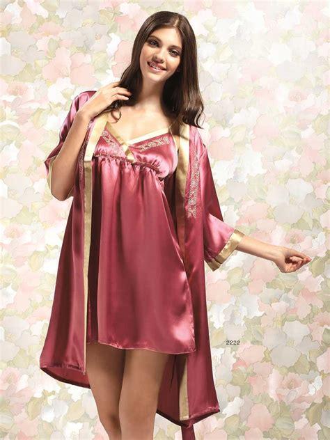 Yuko Kimono Set Nightdress Innerdressbeltgstring silk nightgown and robe set