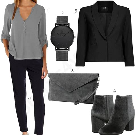elegantes business outfit fuer damen  schwarz grau