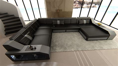 Design Sectional Sofa Matera With Led Lights Black