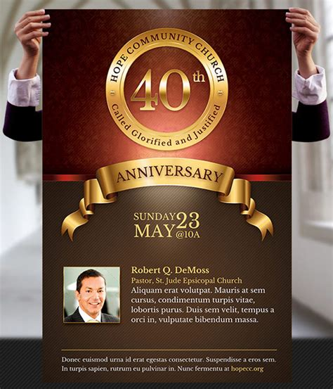 church anniversary flyer  poster template  godserv