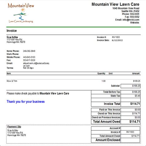 lawn service invoice template sles of lawn care quotes quotesgram