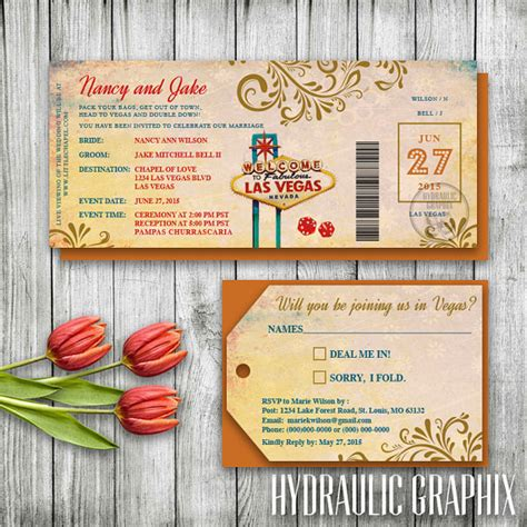 printable luggage tickets las vegas wedding invitation ticket las vegas invitation